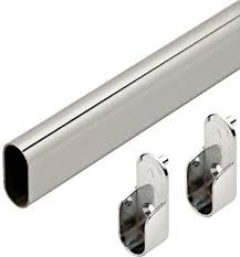 amazon com oval closet rod flanges chrome home u0026 kitchen