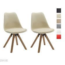 Esszimmerstuhl Retro Leder Stuhl Esszimmerstühle Küchenstühle 2 Er Set In Creme Küchenstuhl