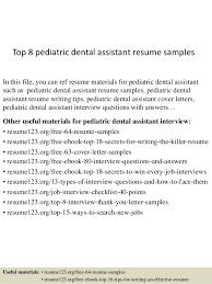 resume examples for dental assistants top 8 pediatric dental