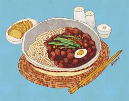 illustration cuisine jajangmyeon 자장면 짜장면 jjajangmyeon a