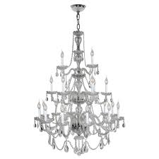 Cristal Chandeliers by Worldwide Lighting Provence 21 Light Polished Chrome And Clear
