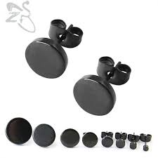 plastic back earrings 1 pair stainless steel ear studs earrings black plated