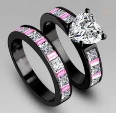 Black And Pink Wedding Rings by Pink And White Topaz Black Gold Filled Wedding Bridal Style Ring