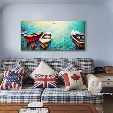 Decorative Paintings For Home Hand Painting Oil Painting Boating Canvas Entranceway Decorative