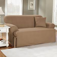Loveseat Slipcover Sure Fit T Cushion Loveseat Slipcovers With Brown Color And