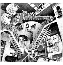 mc escher relativity op art coloring pages for adults justcolor