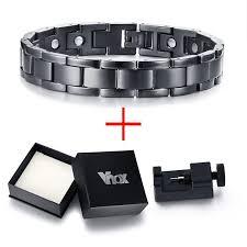 bracelet energy power images Vnox 12mm black magnetic bracelets for men stainless steel energy jpg