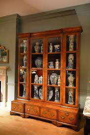 Antique Breakfront China Cabinet by A Rare Large 18th Century Inverted Breakfront Veneered Walnut