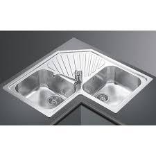 lavello angolare lavello ad angolo smeg alba sp2a 2 vasche acciaio inox smeg