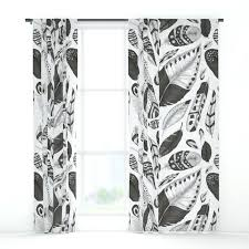 Black And White Blackout Curtains White And Black Curtains Black And White Feathers Pattern Window