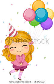 girl birthday illustration girl holding birthday balloons stock vector 76243402