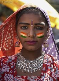 make a virtual face paint with flag of india on your cheeks