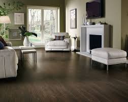 distressed laminate flooring in living room with white