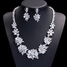new diamond necklace images Ls0590 new luxury flower design white gold plated fashion zirconia jpg
