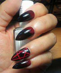 gothic stiletto pentagram nails black u0026 red long or short