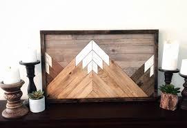 reclaimed wood wall art wood art farmhouse decor mountain range