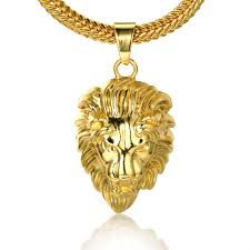 free necklace images Halukakah quot kings landing quot men 39 s 18k real gold plated 3d lion jpg