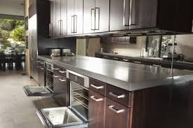 dark cabinets metal counter tops kitchen cabinets reno