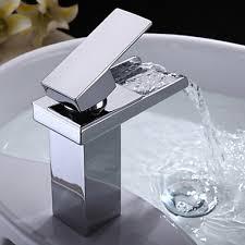 Bathroom Sink Handles Chrome Finish Modern Single Handle Waterfall Bathroom Sink Faucet