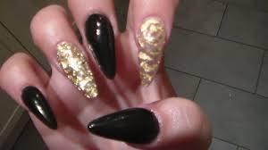 acrylic nails black and gold youtube
