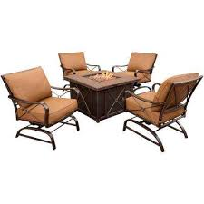 patio furniture with fire pit table fire pit sets outdoor lounge furniture the home depot
