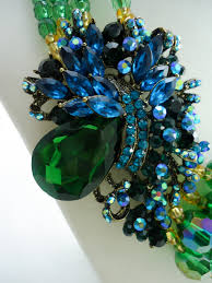 blue crystal statement necklace images Obianuju glamorous rhinestone green statement necklace hautecorals jpg