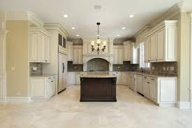 beige kitchen floor tiles and marble backsplash traditional