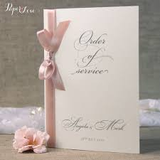 order wedding invitations gorgeous personalised order of service with ribbon gold wedding