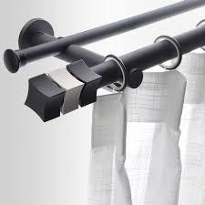 Aluminum Curtain Rod Black Aluminum Double Straight Modern Curtain Rods