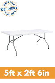 folding plastic table 5ft x 2ft 6in rectangular plastic folding table