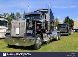porvoo finland july 2 2016 dark blue kenworth w900 truck
