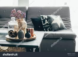 home interior decor gray brown colors stock photo 715596850