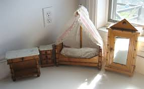 antique doll toy miniature furniture french faux bamboo bedroom
