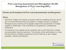 Formal Credit Policy River College Plar Rpl In Recognizing Prior Learning