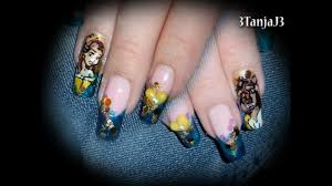disney princess belle beauty u0026 the beast nail art design youtube