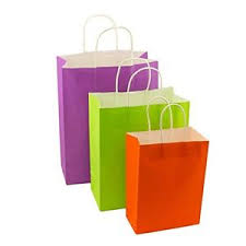 assorted matte solid color kraft paper gift bags white handles