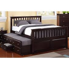 furniture of america percius cherry captain bed with trundle and