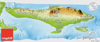 bali indonesia map physical panoramic map of bali