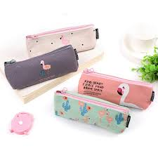 pencil cases kawaii pencil flamingos canvas supplies bts stationery gift