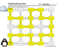 multiplying binomials foil maze activity by the math factory tpt