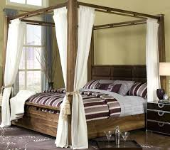 wood canopy bed frame queen office bedroom brown wooden square