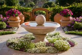 landscape sculpture water garden container with flower bed and