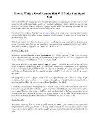 Good Resume Examples For First Job How To Properly Write A Resume Free Resume Example And Writing