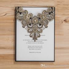 black and gold wedding invitations vintage gold lace wedding invitation cards 2016 black pearl laser