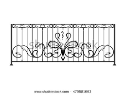 wrought iron balcony fence stock vector 479581663 shutterstock