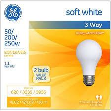 250 watt light bulb ge soft white 3 way 50 200 250 watt a21 2 pack walmart com