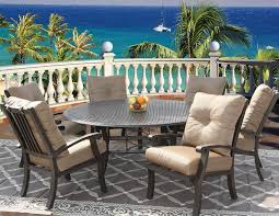 6 person round table barbados cushion outdoor patio 7pc dining set for 6 person with 71