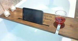 Wood Bathtub Caddy Wooden Bath Buddy Caddy Engraved Personalised Message Wine Tablet