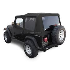 jeep rubicon black offroad jeep wrangler yj soft top in black sailcloth tinted