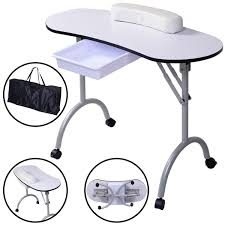 white black portable manicure nail table station spa salon